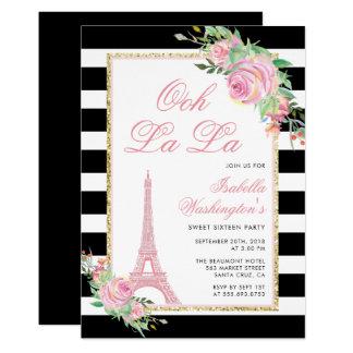 Blumen u. Eiffel-Turm-Geburtstags-Party Einladung