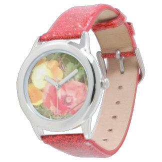 Blumen-u. Glitter-Uhr-Rot aber u können Farbe Armbanduhr