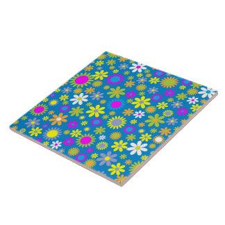 Blumen-Überfluss-Blau Fliese