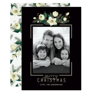 Blumen- und Kiefern-Foto-Weihnachtskarte Karte