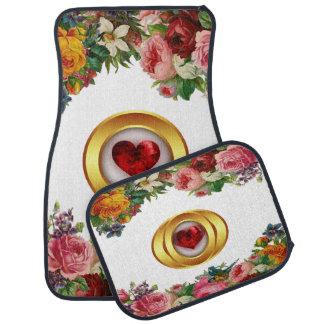 Blumen- und rotes Herz-Entwurfs-Set von 4 Automatte