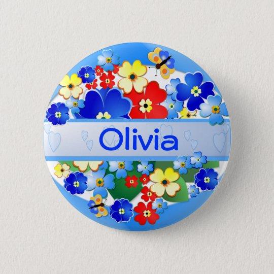 Blumen und Schmetterlinge ~ Namen-Knopf Runder Button 5,1 Cm