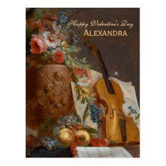 Blumen und Violine CC0641 Valentine-Postkarte Postkarte