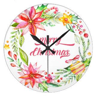 Blumen winden moderne Typografie-frohe Weihnachten Große Wanduhr
