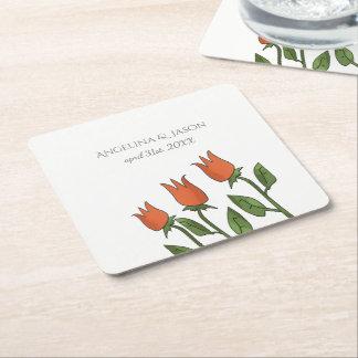 BlumenAquarell-Frühlings-Tulpe-weiße reine Rechteckiger Pappuntersetzer
