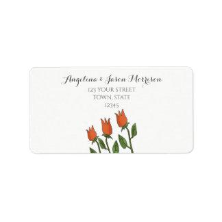 BlumenAquarell-Frühlings-Tulpe-weißes reines Adressaufkleber