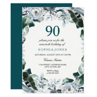 BlumenAquarell-Jade-Grün-90. Geburtstag laden ein Karte