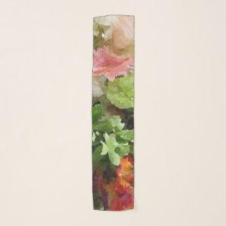 BlumenAquarell-Pfirsich-Rosa und Grün Schal