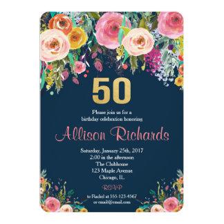 BlumenAquarellmarine der 50. Geburtstagseinladung 12,7 X 17,8 Cm Einladungskarte