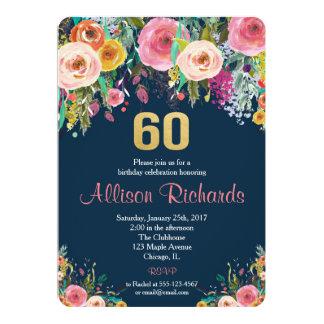 BlumenAquarellmarine der 60. Geburtstagseinladung 12,7 X 17,8 Cm Einladungskarte