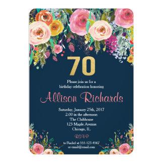 BlumenAquarellmarine der 70. Geburtstagseinladung 12,7 X 17,8 Cm Einladungskarte