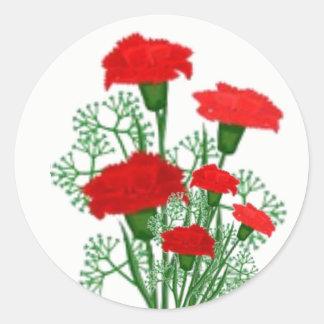 Blumenaufkleber des roten runder aufkleber
