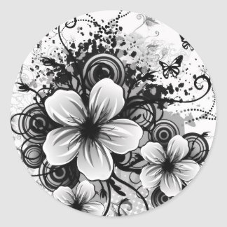 Blumenaufkleber Runder Aufkleber