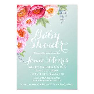 Blumenbaby-Duschen-Einladung im aquamarinen ombre Karte