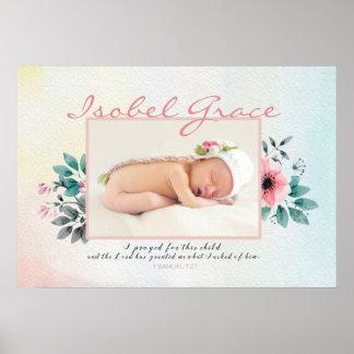 Blumenbaby-Foto-Rahmen mit Bibel-Vers Poster