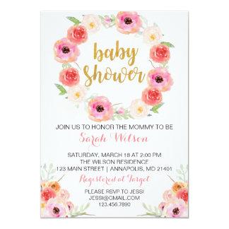BlumenBabyparty-Einladung 12,7 X 17,8 Cm Einladungskarte