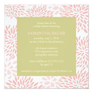BlumenBabypartyeinladung Quadratische 13,3 Cm Einladungskarte