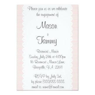 Blumenblattrosa Pinstripes-Verlobungs-Party 12,7 X 17,8 Cm Einladungskarte