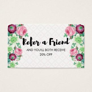 BlumenBlume verweisen eine Freund-Empfehlung Visitenkarten