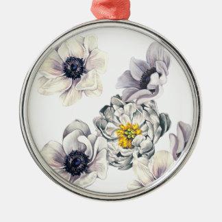 BlumenBlumen-Pfingstrosen-Anemonen-neuer Frühling Silbernes Ornament