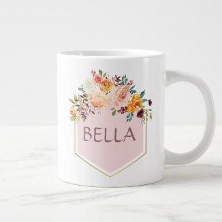 Blumenblumenstrauß-Rosa-Logo-personalisierte Tasse
