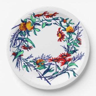 BlumenBlumewreath-Pflanzen-botanischer Gartenbau Pappteller