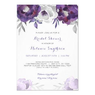 BlumenBrautparty 3963 des lila silbernen 12,7 X 17,8 Cm Einladungskarte
