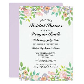 BlumenBrautparty-lila Blumen-Einladungen Karte