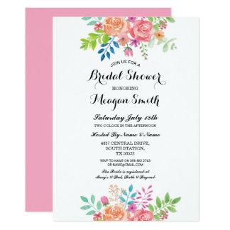 BlumenBrautparty-Rosa-Blumen-Einladungen Karte