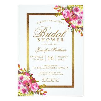 Blumenchic-Goldrosa-elegantes Brautparty 12,7 X 17,8 Cm Einladungskarte