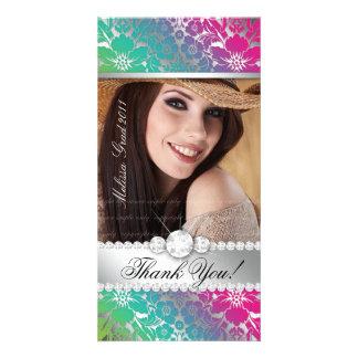 Blumendamast des Abschluss-Foto-Karten-Silber-PGB Fotogrußkarten