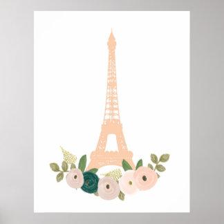 Blumendruck des französischen Eiffelturmrosas Poster