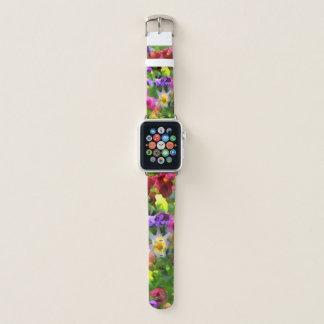 Blumeneindrucks-Blumen-Garten abstrakt Apple Watch Armband
