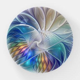Blumenfantasie, farbiges Abstraktes Fraktal Blume Briefbeschwerer
