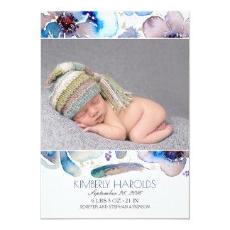 Blumenfederwatercolor-neugeborene Baby-Foto-Geburt Karte