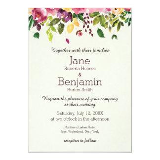 Blumengarten-Aquarell-Hochzeits-Einladung Karte