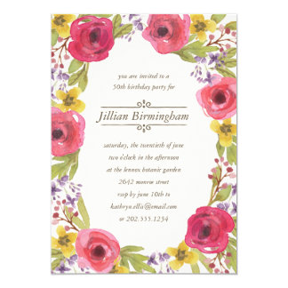 Blumengeburtstags-Party Watercolorwreath-  12,7 X 17,8 Cm Einladungskarte