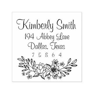 Blumengekritzel-Adressen-Briefmarke Permastempel