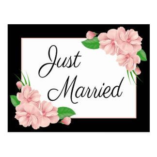 Blumengerade verheiratete rosa u. schwarze postkarte