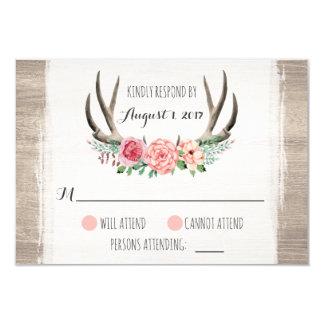 Blumengeweih-rustikale Hochzeit personalisiertes 8,9 X 12,7 Cm Einladungskarte