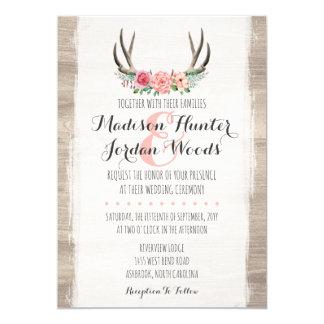 Blumengeweih-rustikale Hochzeits-personalisiertes 12,7 X 17,8 Cm Einladungskarte