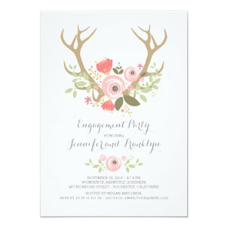 Blumengeweihe Boho Verlobungs-Party 12,7 X 17,8 Cm Einladungskarte