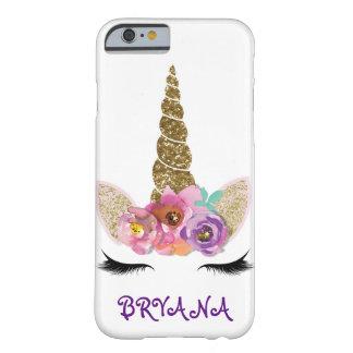 BlumengoldGlitzer-Scheinunicorn-Horn-Mädchen Barely There iPhone 6 Hülle