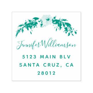 Blumengrüne Hochzeits-Rücksendeadresse des Permastempel
