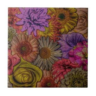 Blumengrüße, Vintager Blick Kleine Quadratische Fliese