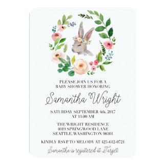 Blumenhäschen-Babyparty-Einladung Karte