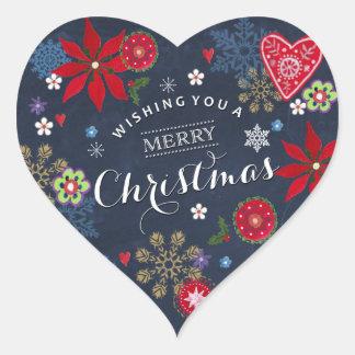 Blumenherz-Aufkleber des tafel-Weihnachten| Herz-Aufkleber