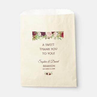Blumenhochzeit Charme-Burgunders Marsala DANKEN Geschenktütchen