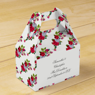 Blumenhochzeitsblumenstrauß der roten und weißen geschenkschachtel