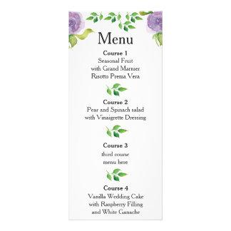 Blumenhochzeitsmenü des lila Watercolor Werbekarte